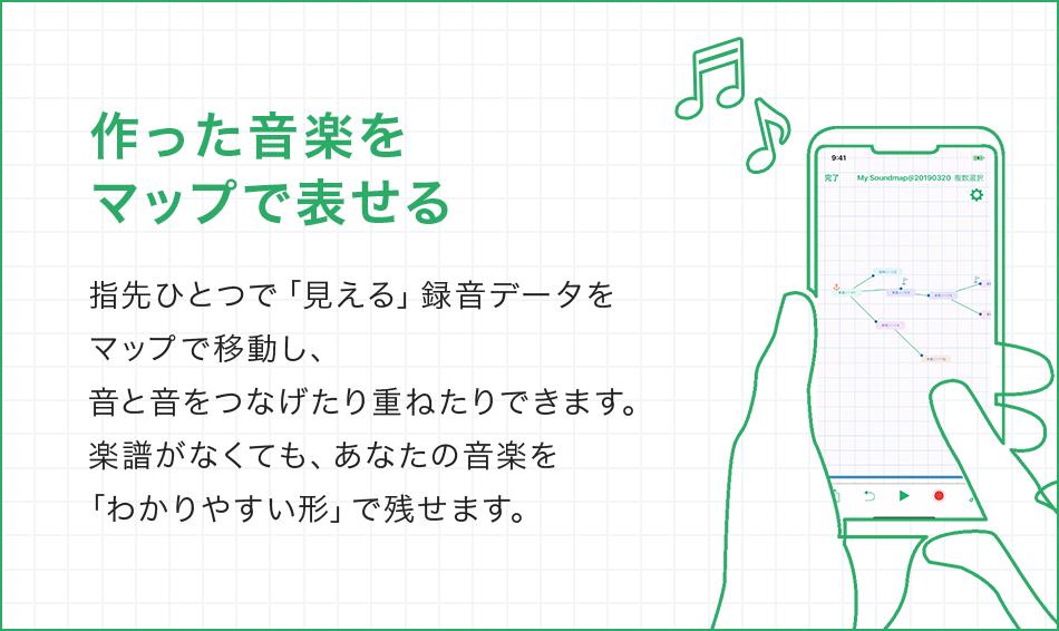 作った音楽をマップで表せる 指先ひとつで「見える」録音データをマップで移動し、音と音をつなげたり重ねたりできます。楽譜がなくても、あなたの音楽を「わかりやすい形」で残せます。