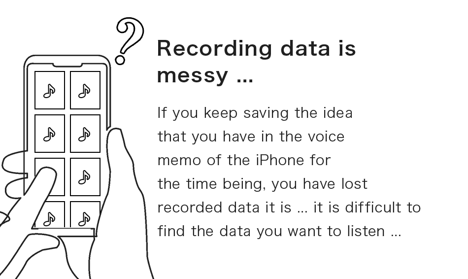 Recording data is messy ...If you keep saving the idea that you have in the voice memo of the iPhone for the time being, you have lost recorded data it is ... it is difficult to find the data you want to listen ...
