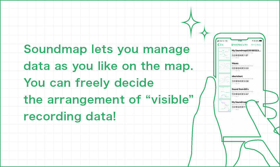 "Soundmap lets you manage data as you like on the map. You can freely decide the arrangement of ""visible"" recording data!"
