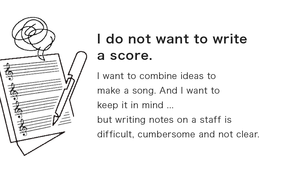 I do not want to write a score.I want to combine ideas to make a song. And I want to keep it in mind ... but writing notes on a staff is difficult, cumbersome and not clear.